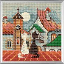 Diamond Mosaic készlet - Macskák város és tavasz