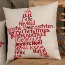 Karácsonyi  feliratos - skandináv mintás keresztszemes párna