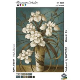 Fehér virágok vázában - gobelin