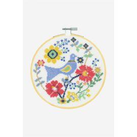 Virágos madár - DMC keresztszemes készlet hímzőrámával