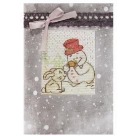 Hímezhető képeslap - hóember nyuszival