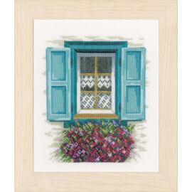 Ablak kék spalettával - Lanarte keresztszemes készlet