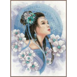 Ázsiai nő kékben - leszámolható keresztszemes készlet