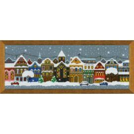 Karácsonyi város keresztszemes készlet