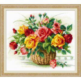 Kosár rózsákkal keresztszemes készlet
