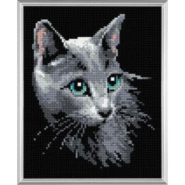Diamond Mosaic készlet - Szürke cica