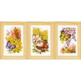 Pillangók és virágok - 3 darabos Vervaco keresztszemes készlet
