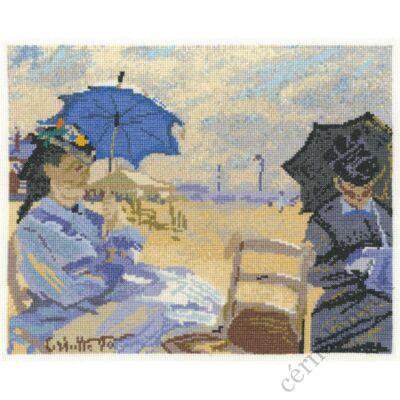 Monet: Strand Trouville-nál - keresztszemes készlet