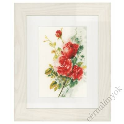 Vörös rózsacsokor keresztszemes készlet