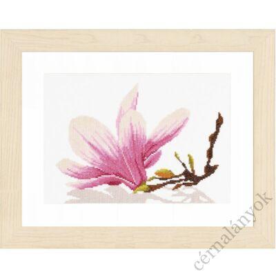 Magnólia virág ággal keresztszemes készlet