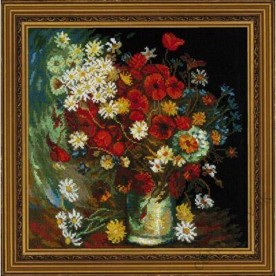 Csendélet mezei virágokkal és rózsával Van Gogh festménye alapján - keresztszemes készlet