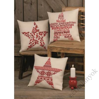 Karácsonyi csillag norvég mintás keresztszemes párna