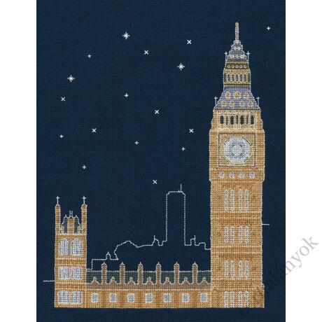 London éjjel - keresztszemes készlet sötétben világítós fonallal