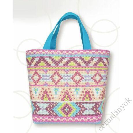 Rózsaszín-kék keresztszemes táska