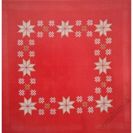Rico előnyomott hímezhető terítő - karácsonyi piros terítő
