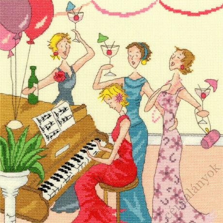 Ebédelő hölgyek: Egy vidám dalt énekelnek keresztszemes készlet