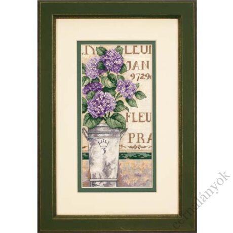 Hortenzia vázában - keresztszemes készlet