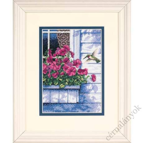 Virágok és kolibri - keresztszemes készlet