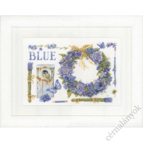 Levendula koszorú és kék cinke keresztszemes készlet