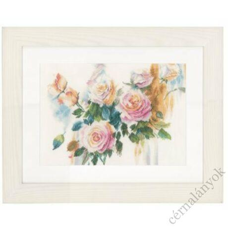 Rózsaszín rózsacsokor keresztszemes készlet