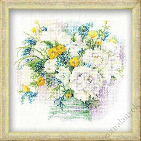 Akvarell bazsarózsák keresztszemes készlet