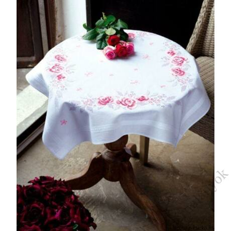 Hímezhető Vintage rózsás terítő
