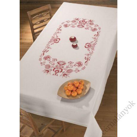 Adventi asztalterítő piros girlanddal nagy asztalra