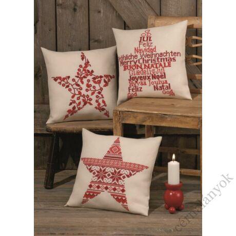 Karácsonyi csillag bogyós keresztszemes párna