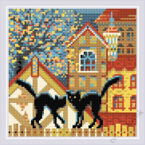 Diamond Mosaic készlet - Macskák város és ősz