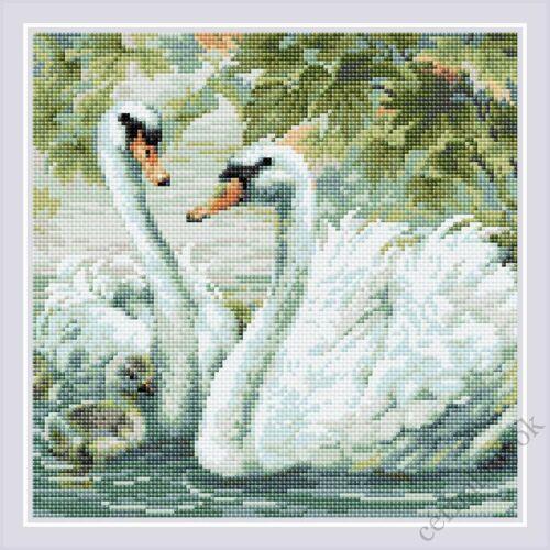Diamond Mosaic készlet - Fehér hattyúk