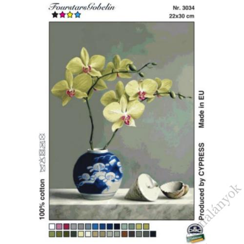Sárga orchidea vázában gobelin