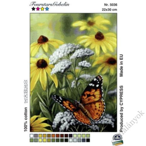 Pillangó és vadvirágok - gobelin