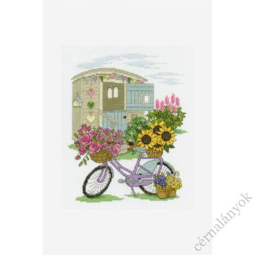 DMC keresztszemes készlet - virágos bicikli