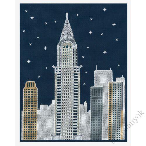 New York éjjel - keresztszemes készlet sötétben világítós fonallal