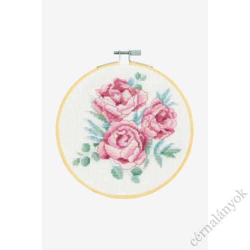 Pünkösdi rózsa - DMC keresztszemes készlet hímzőrámával