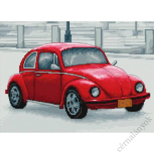 Retro piros autó I. - keresztszemes készlet