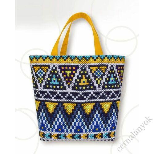 Kék-sárga keresztszemes táska