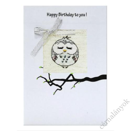 Hímezhető képeslap - bagoly születésnapra