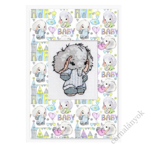 Hímezhető képeslap - kisfiú elefánt