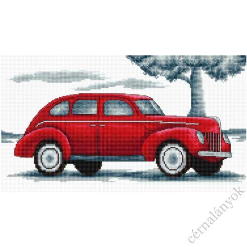 Retro piros autó II. - keresztszemes készlet