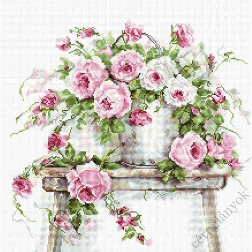 Rózsa kannában - leszámolható keresztszemes készlet