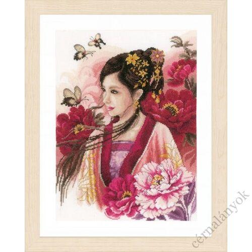 Ázsiai nő pinkben - leszámolható keresztszemes készlet