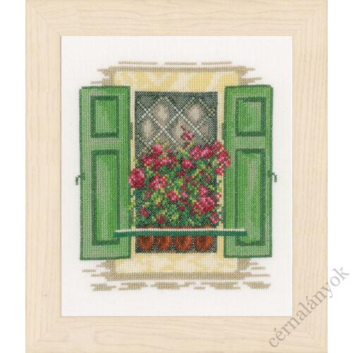 Ablak zöld spalettával - Lanarte keresztszemes készlet