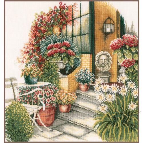 Terasz őszi virágzásban - Lanarte keresztszemes készlet