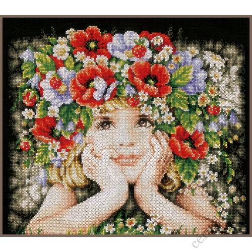 Lány virágokkal Lanarte keresztszemes készlet