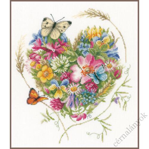Virágszív - Lanarte keresztszemes készlet