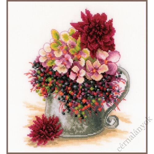 Lanarte keresztszemes készlet - rózsaszín csokor