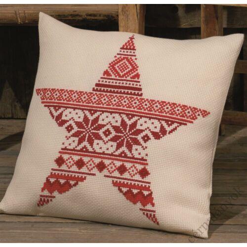 Karácsonyi csillag - skandináv mintás keresztszemes párna