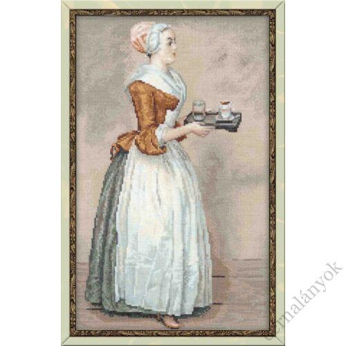 Csokoládé (Chocolate) - J.E. Liotard festménye alapján keresztszemes készlet