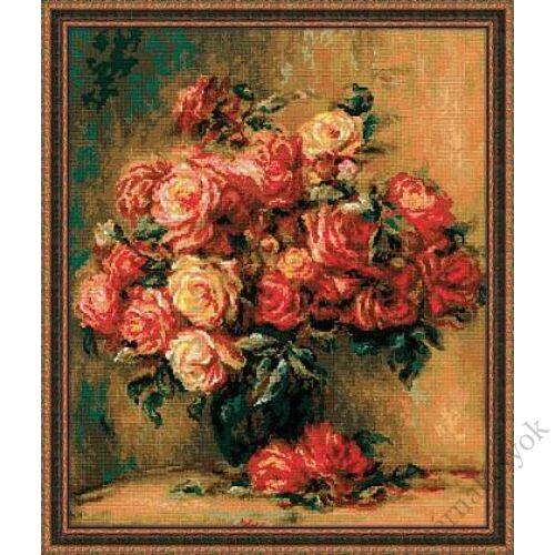 Rózsacsokor keresztszemes készlet Renoir festménye alapján